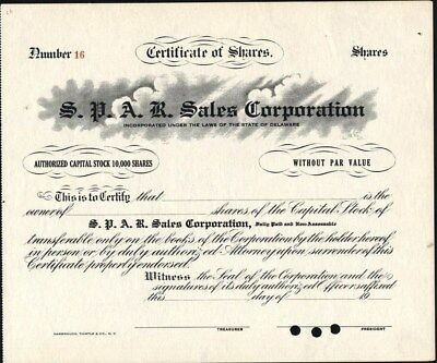 S. P. A. R. Sales Corporation, Unissued, 19--, Crisp Stock Certificate