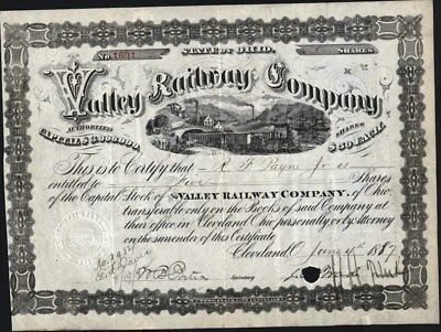 Valley Railway Co., Cleveland, Ohio, 1887, Cancelled Stock Certificate