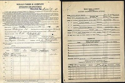 Wells Fargo & Co, Application For Position, Bakersfield, Ca.,1912 + 5 Addl. Docs