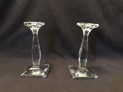 "Vintage Candle Sticks Clear Glass 8-1/4"" Excellent Heisey ??"