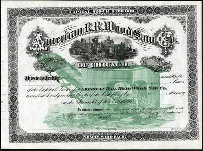 American R.r. Wood Saw Of Chicago, Illinois, 18--, Unissued, Crisp Stock Cft.