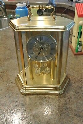 Vintage Hermle Germany Brass Anniversary Carriage Mantle Clock--For Parts