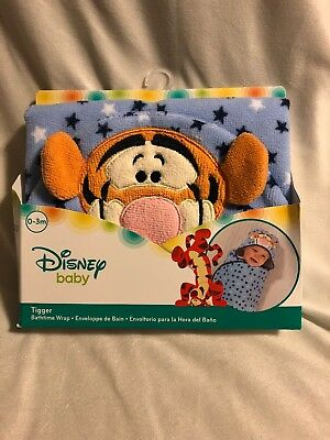 Disney Baby Tigger Hooded Towel Bath Wrap (Winnie Pooh) New(0-3m)