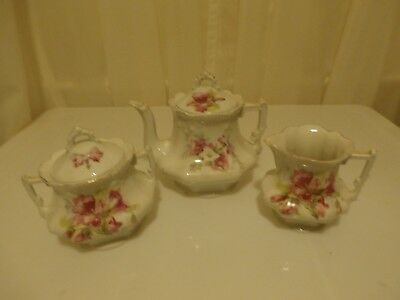 Antique 3pc Hand Painted Floral Porcelain Teapot with sugar and creamer