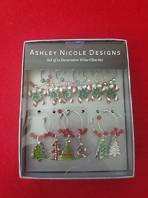 Ashley Nicole Designs Set Of 12 Decorative Wine_ Charms        100% Authentic