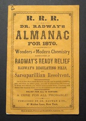 Rare 1870 DR RADWAY'S MEDICAL ALMANAC - Wonders of Modern Chemistry 36 pages