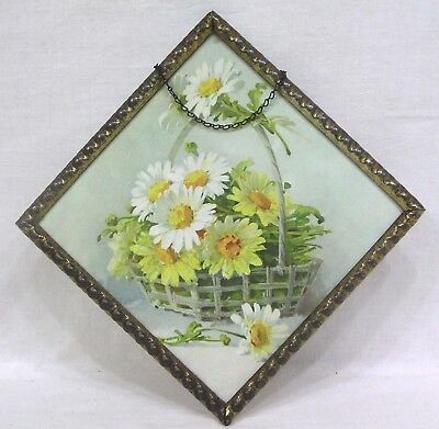 Vtg Square Flue Cover Basket of Daisies Made in Germany