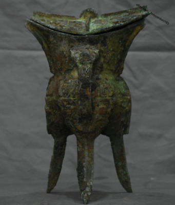 """12"""" Ancient Chinese Dynasty Old antique Bronze Ware Beast Head Drink Wine Cup"""
