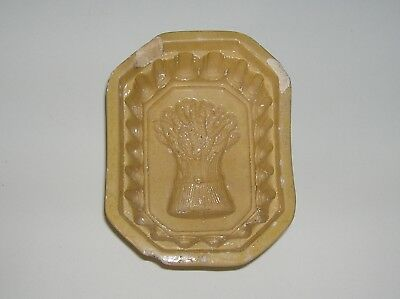 Vtg Antique Primitive Wheat Butter Mold Ceramic Yellow ware with Wheat Design
