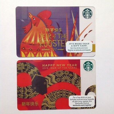 Set of 2 Starbucks gift card LUNAR CHINESE NEW YEAR NEW NO VALUE Rooster, Snake