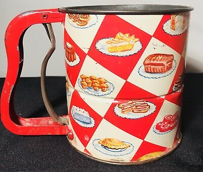 Vintage 1950s Androck Red 3 Screen Hand-I-Sift Kitchen Baking Flour Sifter