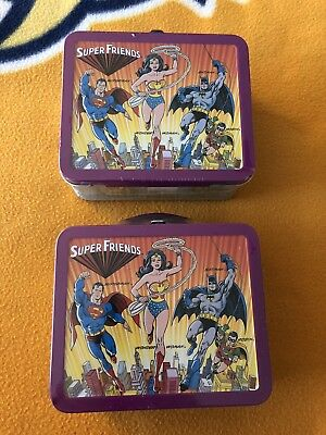 Lot Of-2-HALLMARK-SCHOOL DAYS-MINI LUNCH BOX SEALED AND NUMBERED SUPER FRIENDS