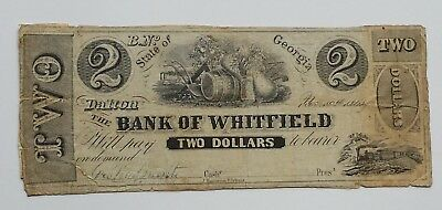 1860 State of Georgia BANK of WHITFIELD DALTON $2 Note