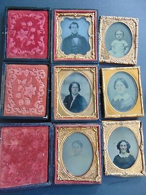 Six  Antique Ambrotype Photographs - Wilbur / Husband Families