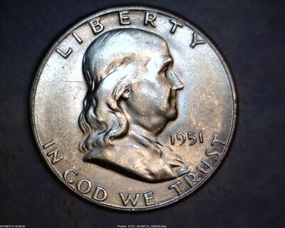 1951-S Ben Franklin Silver Half Dollars In About Uncirculated
