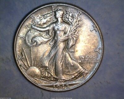 1945 Walking Liberty Silver Half Dollars In About Uncirculated