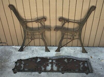 Rare Beautiful Vintage 3 Pc Decorative Cast Iron Garden Park Bench Ends Eagle's