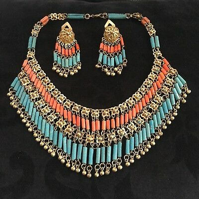 VTG 1920s Egyptian Revival Necklace & Earrings Set | Faience Natural Coral Brass