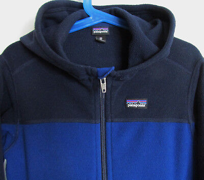 Patagonia, Boy's XS (5-6), L/S Fleece Hoodie, Blue/Navy