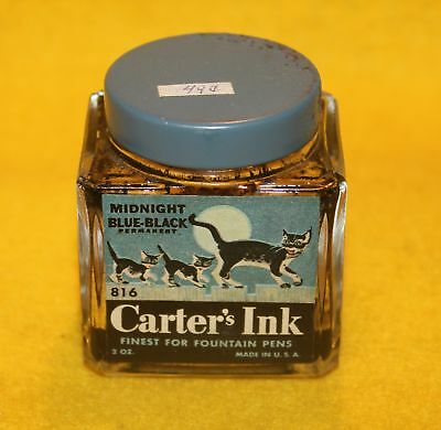 vintage CARTER'S FOUNTAIN PENS INK 2oz Bottle #816 - BLACK CAT LABEL advertising