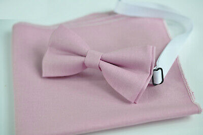 Dust Pink Bow tie Matched Pocket Squares for all ages Kids Boy / Youth / Men