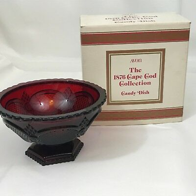 Avon 1876 Cape Cod Collection Rudy Red Glass Footed Candy Dish w/ Original Box