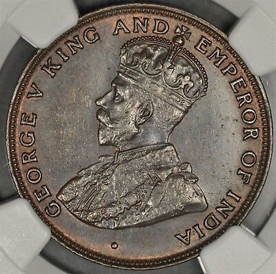 1919-H Ngc Ms61Bn Hong Kong Cent