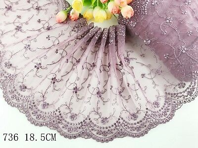 "7""*1yard Delicate Purple Embroidered flower tulle Lace Trim DIY Craft sewing 736"