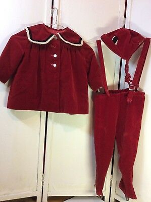 Antique Young CHILD'S Red Velvet COAT OVERALL SnowPants HAT Christmas Outfit