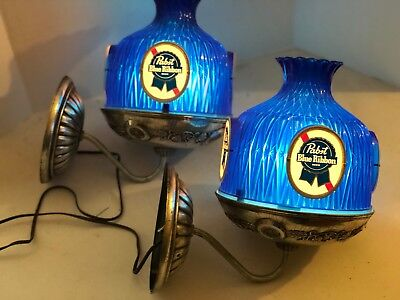 Vintage Pair of Pabst Blue Ribbon Sconce lights, PBR, Beer, Bar Lights