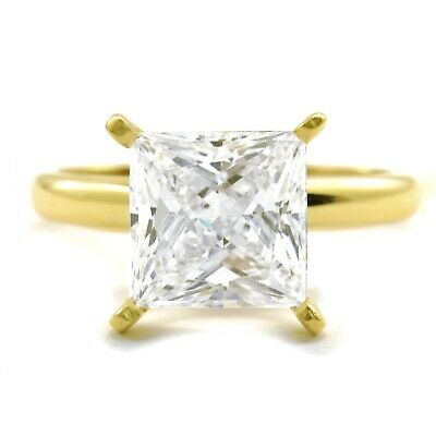3 Ct. Princess Cut Diamond Ring Solid 14K Yellow Gold Solitaire Engagement Real