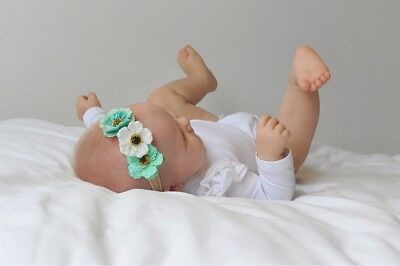 Molly Mint White Flower Crown Headband Baby Girl Toddler Hair Piece Wedding Aus
