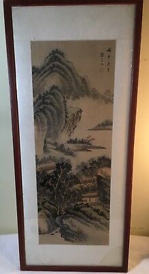 Antique Chinese Watercolor& Ink Paintingon Silk Landscape ORIGINAL poetry scroll