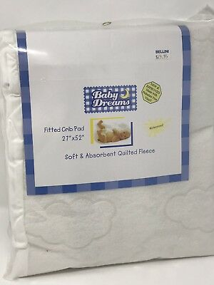 "Baby Dreams Waterproof Quilted Fleece Fitted Crib Pad, 27"" x 52"" New In Package"