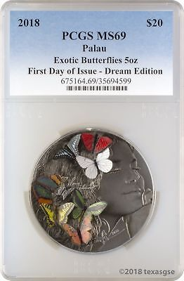 2018 $20 Palau Exotic Butterflies Dream 5oz .999 Silver Coin PCGS MS69 FD