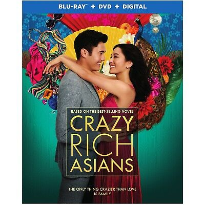 CRAZY RICH ASIANS Blu-ray/DVD/Digital (CASE, SLIP COVER,CODE, & ALL DISC)