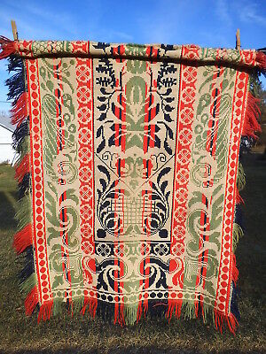Antique Colorful Woven Wall-Hanging - Part of Coverlet dtd 1800's  29 x 36 USA