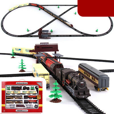 Large Electric Classic Retro Train Rail Vehicle Track Operated Carriage Kids Toy