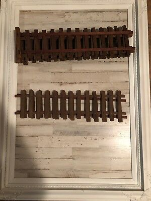 Antique Putz Village Fencing Vtg Wood White Picket Fence Feather Tree Christmas