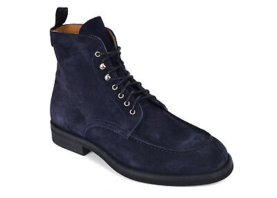 Sutor Mantellassi Mens Blue Suede Lace Up Moccasin Combat Boots 8 UK 9US RTL$950