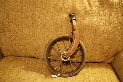 Antique/Vintage Wheelchair Wheel w/stem Caster Chair metal spokes, solid rubber