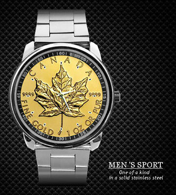 1 Oz Canadian Maple Leaf Coin Steel Watch New 2019 (Rare)