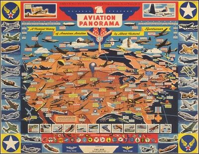 1943 WW2 promotional pictorial MAP aircraft squadron insignias POSTER 51391