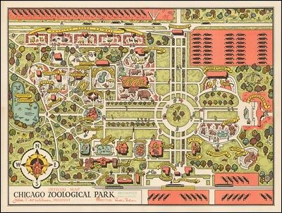 1935 pictorial map Brookfield Zoo Official Chicago Zoological Park POSTER 54376