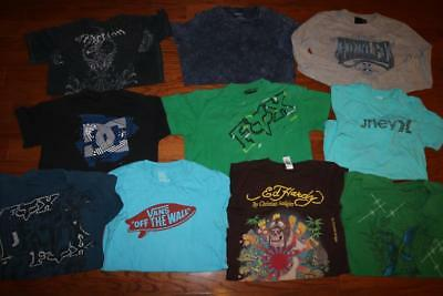 Lot Of 10 Mens Graphic T Shirts Affliction Fox Racing Ed Hardy Hurley Dc Small