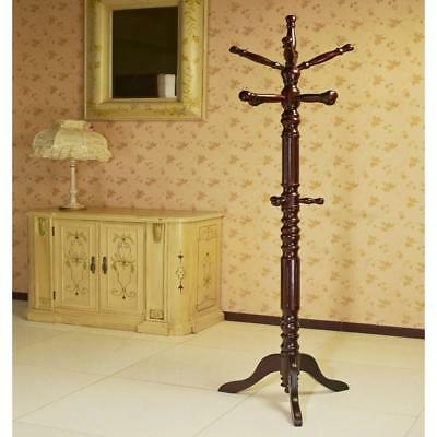 MegaHome Coat Rack Cherry Wood 12-Hook Standing Clothes Storage Hanger