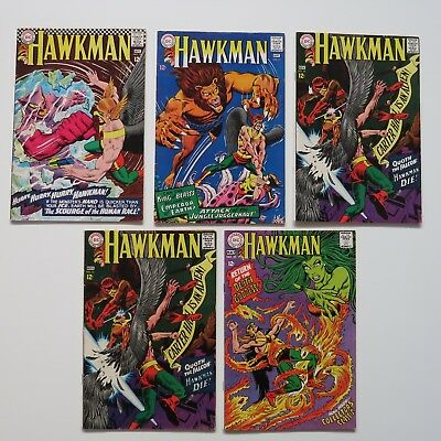 Hawkman #15,21,22(2),25 Silver Age comic book 5 LOT DC Comics Mid grades 1966