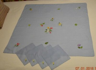 Vintage Blue Italian Table Cloth for Bridge or Luncheon Cotton with Napkins