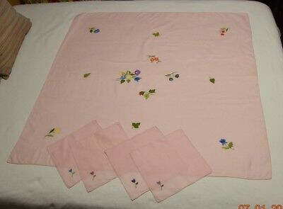 Vintage Pink Italian Table Cloth for Bridge or Luncheon Cotton with Napkins