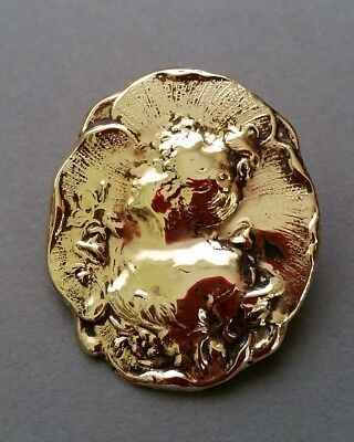 art nouveau brass brooch pin pansy woman antique repousse c clasp estate find